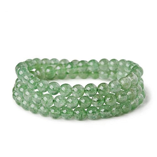LiZiFang 6mm Green Natural Strawberry Quartz Crystal Round Bead Bracelet Three Laps