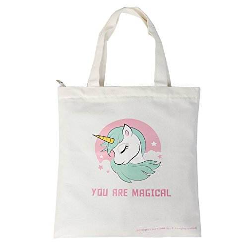 Unicorn Tote Bag - Reusable Canvas Shopping Bag, Grocery Bag, School Bag for Girls Women with Zipper and Inner Pocket ()