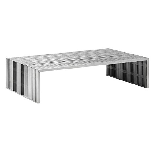 Zuo Modern 100083 Novel Double Bench, Brushed Stainless Steel; Like Support Beams in a High Rise, The Novel Series is Strong and Sturdy; Made From 100% Stainless Steel; 150 lbs Weight Capacity
