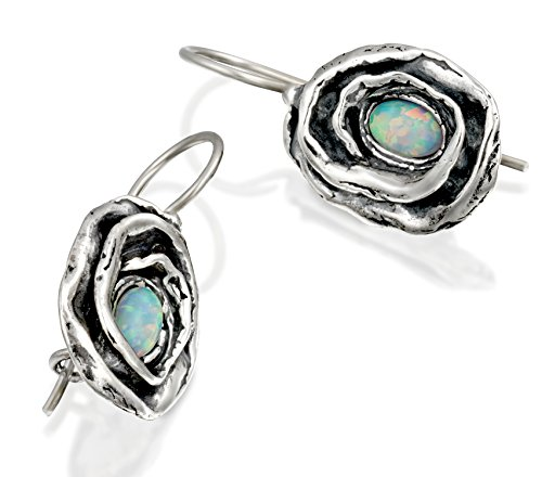 Opal Vintage Earrings - Vintage Style Rose Earrings in 925 Sterling Silver with Created White Opal and Wire & Hook Secure Backs