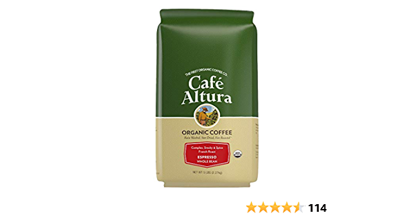 Cafe Altura Whole Bean Organic Coffee, Espresso Roast, 4 Pound (Packaging May Vary)