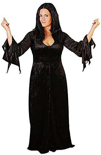 Halloween-Scary-Addams Family MORTICIA Ladies Costume with Wig - All Ladies Sizes (LADIES 14)