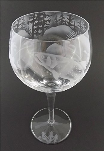 IncisoArt Hand Etched Italian Crystal Goblet Sandblasted (Sand Carved) Handmade Wine Water Glass Engraved (Trout Fish Forest Mountain, 500 Milliliter (17 Ounce) Red Wine) (Design Fish Goblet)