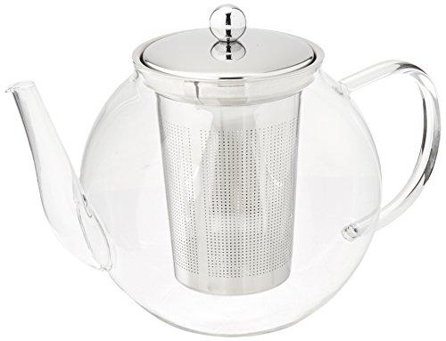 Francois et Mimi Borosilicate Glass Tea Pot with Tea Infuser, Micro-mesh Filter, 40oz