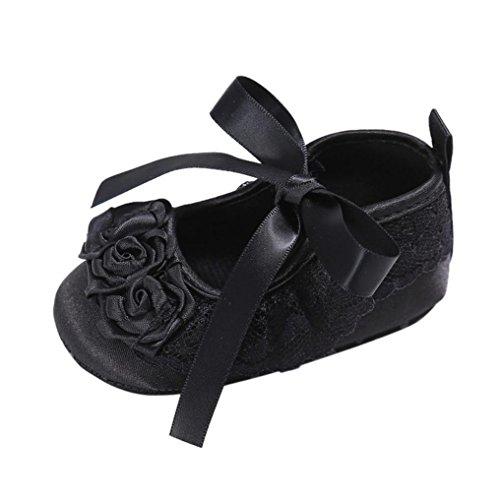 Omiky® Mode 2017 Kleinkind Mädchen Krippe Schuhe Neugeborene Blume Soft Sohle Anti-Rutsch Baby Sneakers Schwarz
