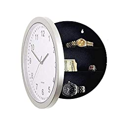 Wall Clock with Hidden Safe Storage Clock, 10 Inch Wall Hanging Secret Stash Money Cash Jewelry Stash Box (White)