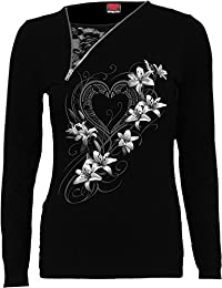 Spiral - PURE OF HEART - 2in1 Slant Zip Neck Lace Top