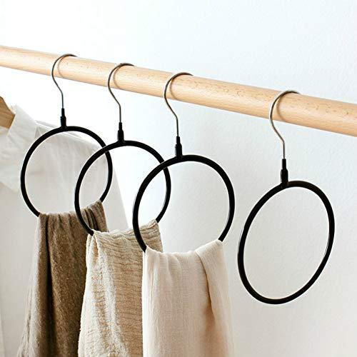 Joyindecor Belt/Scarf Hangers for Closet - 4 PCS Nonslip Space Saving Steel Tie Rings Holder Organizer for Neckties, Shawls Scarves, Pashminas (Black)