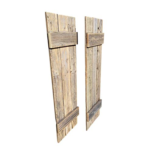 Rustic Shutters Made from 100% Reclaimed Weathered Wood - Perfect for Farmhouse Barnwood Style Decor - Set of 2 - Made in The USA (11