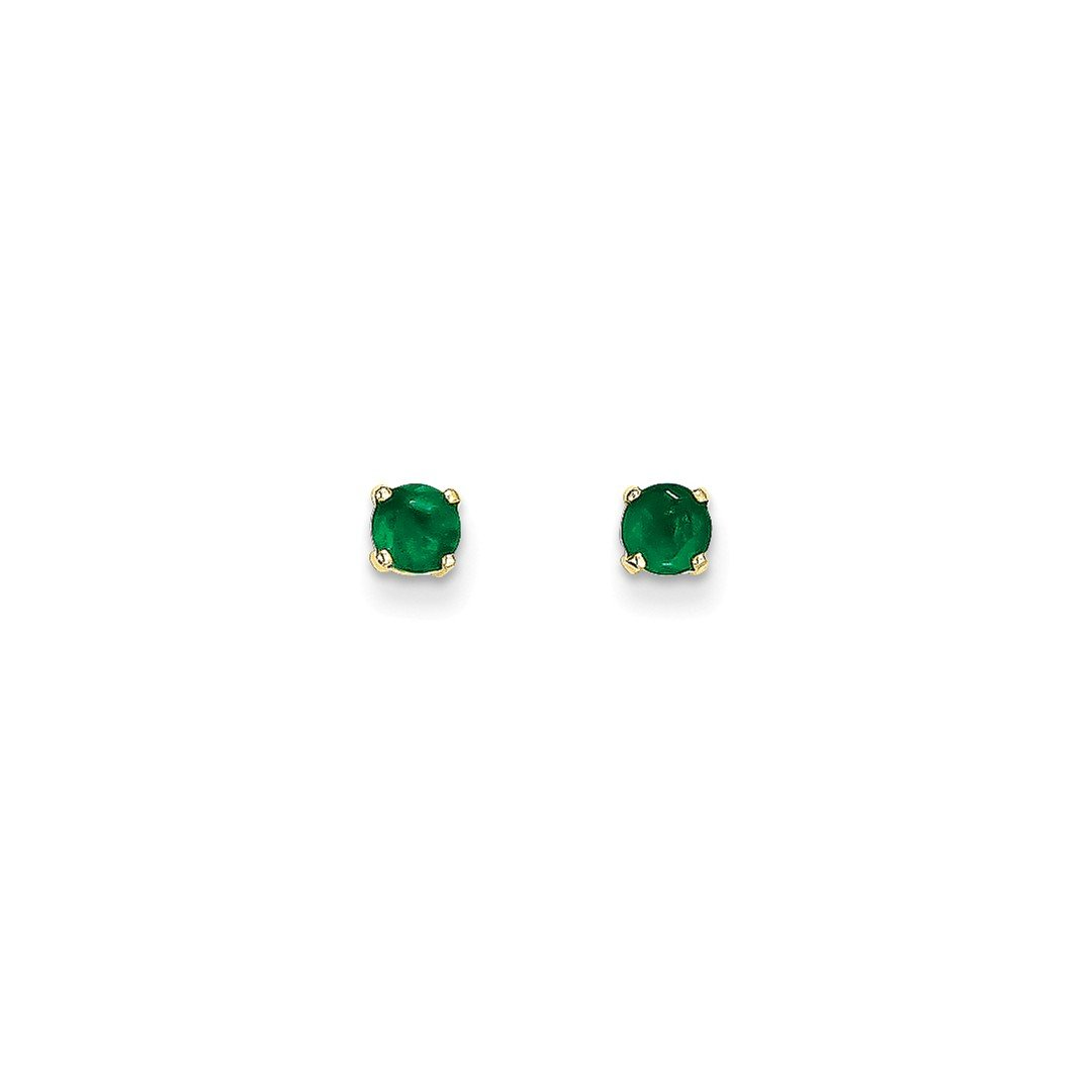 ICE CARATS 14k Yellow Gold 4mm May/emerald Post Stud Ball Button Earrings Birthstone May Prong