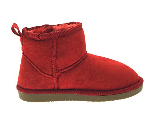 Size Suede UK Faux Ankle Fur Ladies Womens Childrens Classic Kids Red Shoes Mini Snugg Girls Lora Short 7 Boots 8 Dora Sheepskin PAqUwz8T