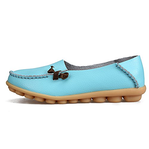 Shoes fereshte Genuine Loafers Flat on Soft Womens Leather Casual Shopping for Driving Slip Fashion soled Moon SPFSgwxA