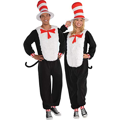 Costumes USA Dr. Seuss Cat in the Hat One Piece Halloween Costume for Adults, Small/Medium, with Included Accessories ()