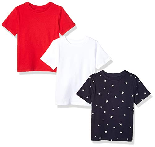 (Amazon Essentials Toddler Boys' 3-Pack Short Sleeve Tee, Star/Red/White, 2T)