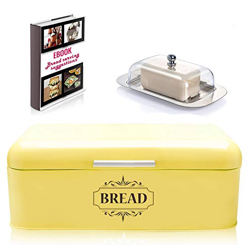 "Vintage Bread Box For Kitchen Stainless Steel Metal in Retro Yellow + FREE Butter Dish + FREE Bread Serving Suggestions eBook 16.5"" x 9"" x 6.5"" Large Bread Bin storage by All-Green Products"
