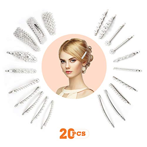 20 Pcs Pearls Hair Clips for Women Girls, Fashion Sturd Artificial Pearl Barrettes Clip Pins for Ladies Headwear Styling Decorative Accessories, Elegant Hairpins for Wedding Party Birthday Gifts (Small Silver Hair Clips)