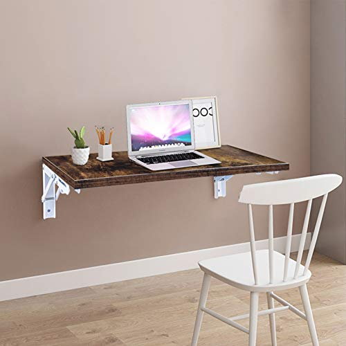 Folding Shelf Brackets-Wall Mounted - Folding Hinge Wall Mounted, Folding Brackets-Triangle Brackets for Table Work Bench, Rustic Wood Wall Shelves Set for Bedroom, Living Room, Kitchen