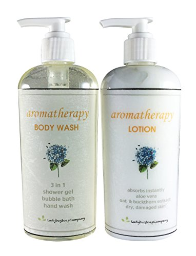 Aromatherapy Therapy Body Wash & Lotion Combo - 8 oz Body Wash + 8 oz Lotion by Ladybug Soap Company