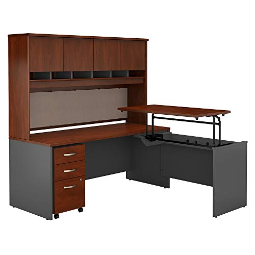 Bush Business Furniture Series C 72W x 30D 3 Position Sit to Stand L Shaped Desk with Hutch and Mobile File Cabinet in Hansen Cherry/Graphite Gray