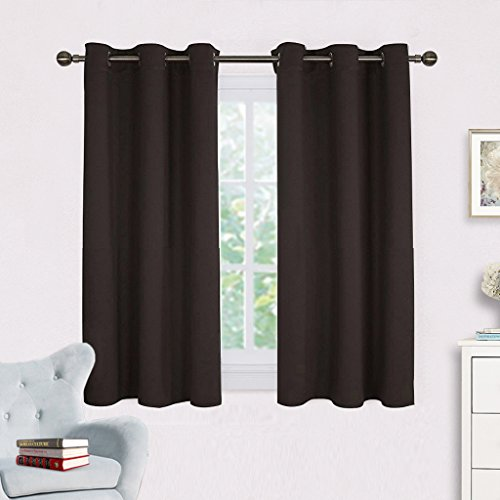 Solid Grommet Window Curtain Foam Lined Coffee - 5