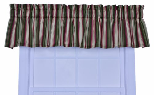 Green Tailored Valance - Ellis Curtain Montego Stripe Tailored Valance Window Curtain, Green