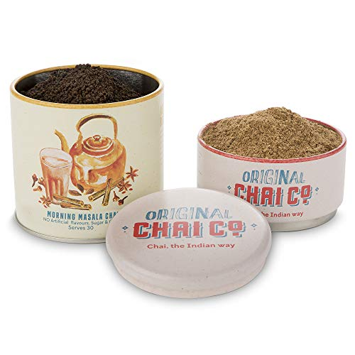Original Chai Co Morning Spiced Chai Tea - 30 Servings - Authentic Indian Masala Recipe - Traditional Blend of 30gm Chai Masala and 100gm Assam Black Tea Leaves in Storage Tin- All Natural Ingredients