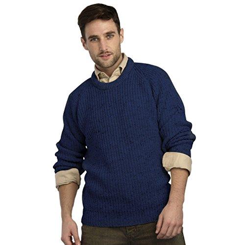 Irish Fishermans Pure Wool Rib Crew Neck Sweater(Large Navy)