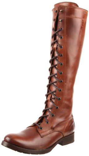 FRYE Women's Melissa Tall Lace Boot, Brown, 5.5 M US