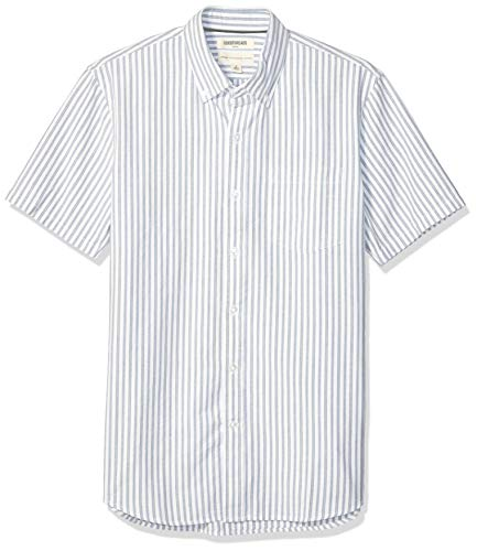 (Goodthreads Men's Standard-Fit Short-Sleeve Oxford Shirt, Blue White Vertical Stripe, XX-Large)