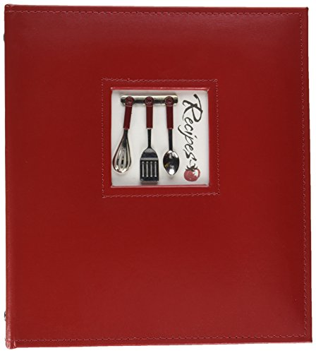 C.R. Gibson Red Leather Kitchen Recipe Keeper Binder, 9'' x 9.5''