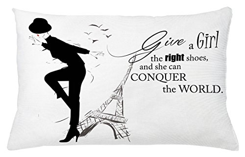 Teen Room Throw Pillow Cushion Cover by Ambesonne, Dancing Masculine Fashion Woman by Eiffel Tower and Motivational Quote Print, Decorative Accent Pillow Case, 26 W X 16 L Inches, Black White