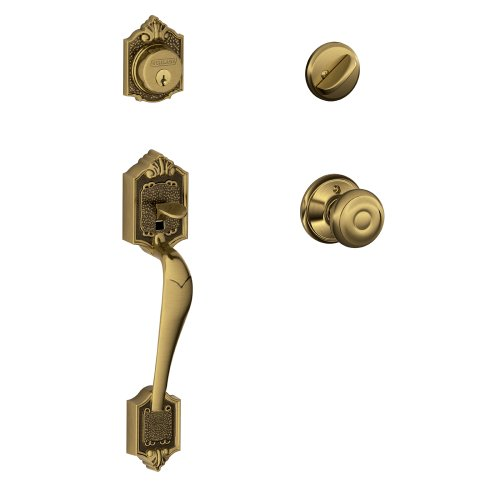 Geo 609 Entry - Parthenon Single Cylinder Handleset and Georgian Knob, Antique Brass (F60 V PAR 609 GEO)