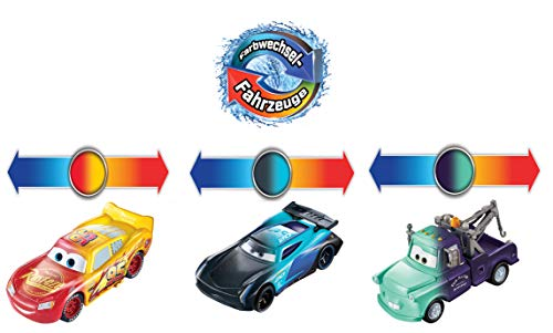 Disney and Pixar Cars Color Changers Lightning McQueen, Mater & Jackson Storm 3-Pack, Gift for Kids Age 3 Years and Older