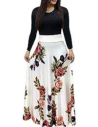 744cd7a4db5 Womens Long Sleeve Maxi Dress Round Neck Floral Print Casual Tunic Long  Maxi Dress