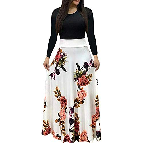 Aublary Womens Long Sleeve Maxi Dress Round Neck Floral Print Casual Tunic Long Maxi Dress (2XL, White)