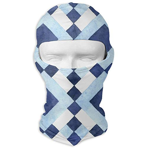 Huase Checkerboard Geometric Pattern Elastic Full Face Mask Hood for Men & Women Workout - Multi Function for Cycling Fishing Motorcycling ()