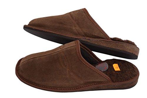 Brown Suede Wool Para Mules Piel Sheep's Estar Casa De Leather Calf Zapatillas Slippers Por Negro Natleat Hombre Natural xwUaqnHxT