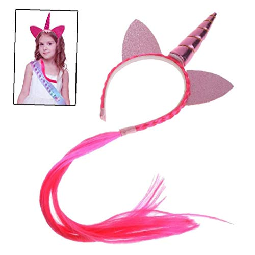 Unicorn Party Color Ponytail Unicorn Headbands Glitter Ears Kids Girls Princess Braid Wig Hairbands Hair Accessories -