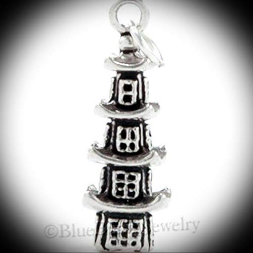 3D Pagoda Pendant Chinese Asian Travel Jewelry Charm 925 Sterling Silver 3.8gr Vintage Crafting Pendant Jewelry Making Supplies - DIY for Necklace Bracelet Accessories by CharmingSS from CharmingStuffS