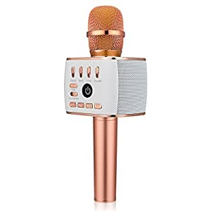 BONAOK Upgraded Bluetooth Wireless Microphones Karaoke Q900,4-in-1 Valentine's Day gift Portable Handheld Microphone Speaker Machine for Android/ iPhone/ Apple/ PC or Smartphone(Rose Gold)