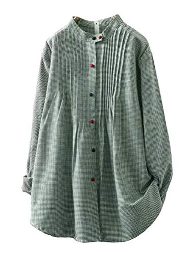 Minibee Women's Plaid Linen Blouse Front Details Shirt Tops with Colorful Buttons