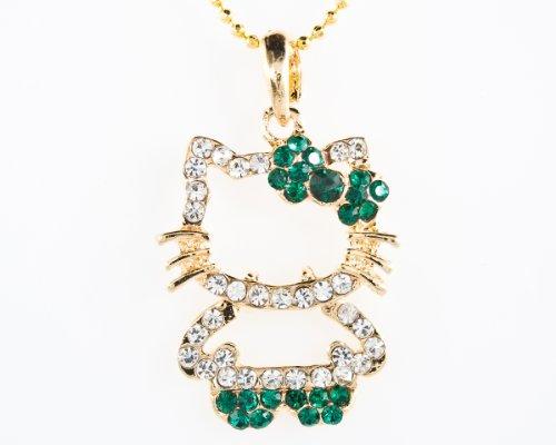 - Hello Kitty Bowknot White and Green Swarovski Crystal Pendant Necklace