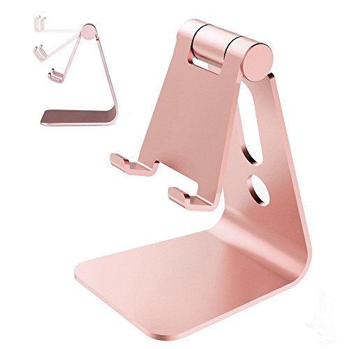 Smartphone Stand,HOTOR Aluminum Foldable Mobile Phone Stand,Holder,Dock,for All Android Smartphone and iPhone, iPad , Samsung ,Table(Rose Gold)