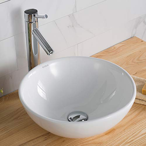 Kraus C-KCV-141-1002CH White Round Ceramic Sink and Sheven Faucet Chrome