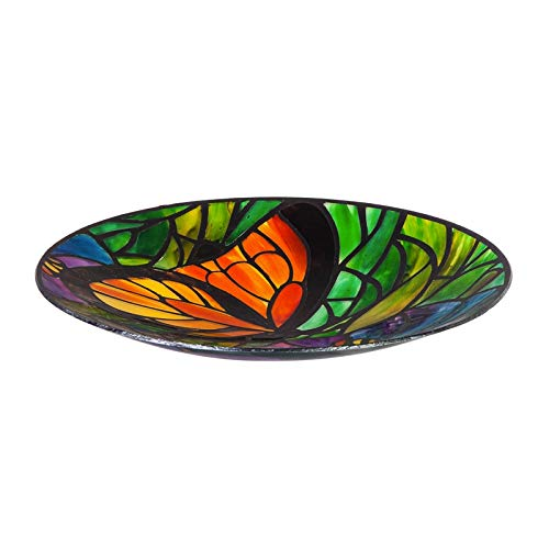 Evergreen Garden Art Nouveau Butterfly 18 inch Glass Bird Bath Bowl