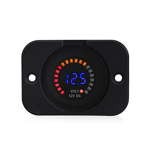 - WATERWICH Waterproof 12V DC Voltmeter Color LED Digital Display With Flat Panel Volt Meter Voltage Meter Scale Gauge Battery Tester for Marine Car Motorcycle Truck Boat RV