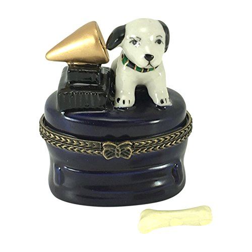 Dog Hinged Trinket Box - Porcelain RCA Puppy Dog With Record Player Hinged Trinket Box