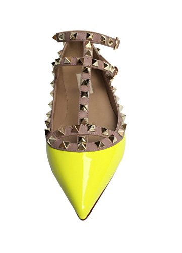 studs Studded Gold Yellow Kaitlyn Neon trim Patent Leather Toe Caged Ballerina Flats Pointed Strappy Nude Pan qntw6Zg