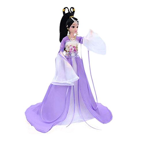 PANDA SUPERSTORE China Doll for Girls Ball-Jointed Doll Dress Doll Gorgeous Purple Fairy Doll