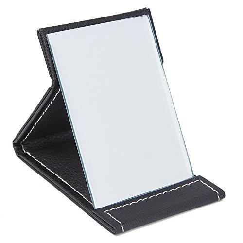(Folding Mirror, PU Small Portable Adjustable Rectangular Makeup Mirror for Travel, Black, 4.3